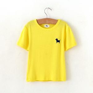 Детски летни тениски с къс ръкав за момичета и момчета - розови, жълти, зелени, розови и черни