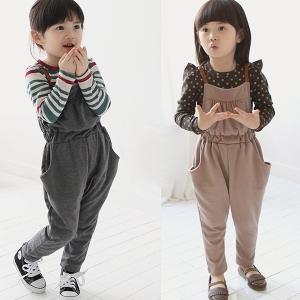 Детски гащеризон за момичета - в сив и кафяв цвят