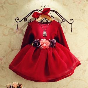 Детска червена луксозна рокля за момичета