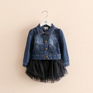Детски комплект от 2 части за момичета - пола и дънково яке