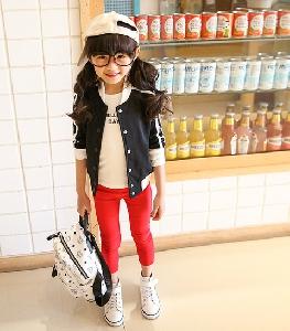 Детски пролетни панталони за момичета - червени, черни, бели тесни клинове