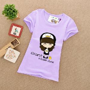 Детски цветни памучни тениски за момичета - зелени, жълти, розови - топ модели