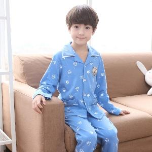 Пролетни пижами за момчета в зелен,бял и син цвят - 4 модела