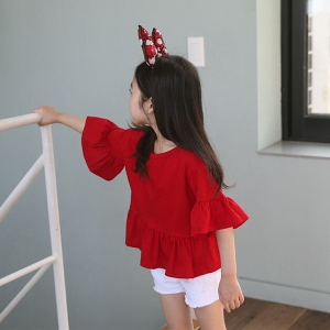 Нова детска пролетна тениска за момичета в червен цвят