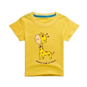 Детски тениски за момчета с щампа на жираф
