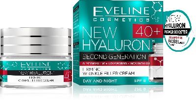 Днeвен и нощен стягащ крем-филър 40 + Eveline SPF8 New Hyaluron, 50 мл