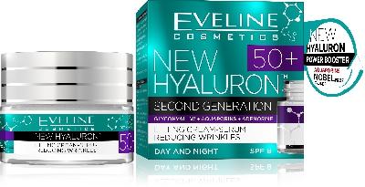 Дневен и нощен крем-серум с лифтинг ефект 50 + Eveline SPF8 New Hyaluron, 50 мл