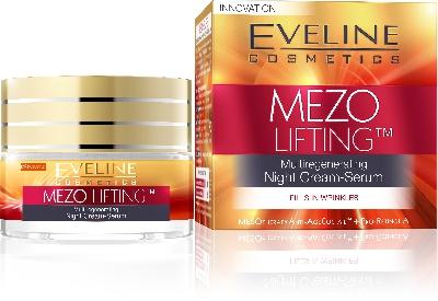 Нощен регенериращ крем-серум против бръчки Eveline Mezo Lifting, 50 мл