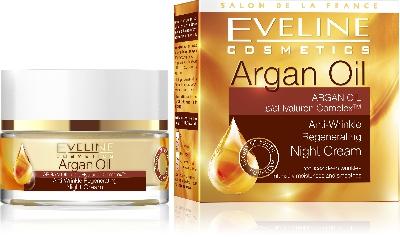 Нощен регенериращ крем против бръчки, Eveline Argan Oil, 50 мл