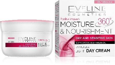 Дневен крем с подхранващ и хидратиращ ефект за суха и чувствителна кожа Eveline Skin Care 360, 50 мл