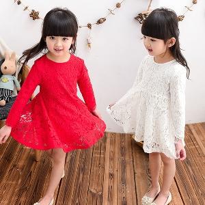 Όμορφα φορέματα δαντέλα παιδικά για κορίτσια με μακριά μανίκια - άνοιξη eb2d0f546e5