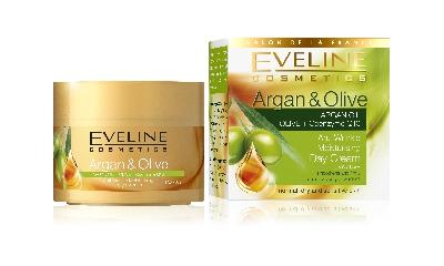 Хидратиращ дневен крем против бръчки Арган & маслина Eveline, 50 мл