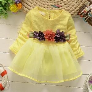 Детски памучни летни рокли за момичета стилни прикрепени цветя - подходящи за плаж и ежедневие - три цвята