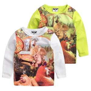 Детски тениски за момчета с анимация в бял и зелен цвят - 3 модела