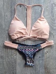 Бански костюм с плетка в розов цвят