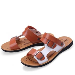 Мъжки чехли оранжев син и кафияв цвят