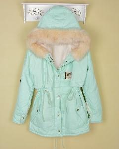 Дамско зимно яке в наситени искрящи цветове - мента, бебешко розово, син, зелен и винено червен