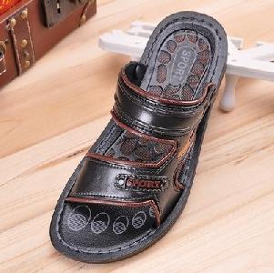 Мъжки чехли черен и кафяв цвят