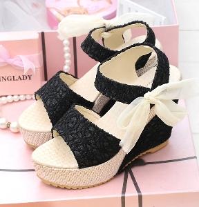 Дамски дантелени сандали на платформа-три цвята