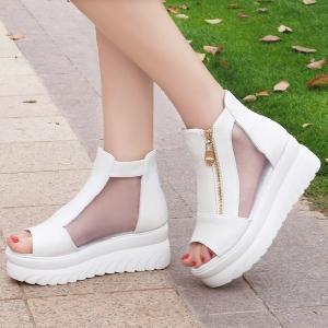Дамски ефектни обувки на платформа: Бели и Черни