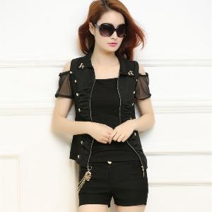 Дамски летен комплект от тънка жилетка с къс ръкав и шорти