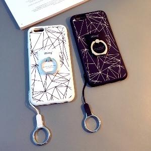 Протектор за телефон с пръстен в бял и черен цвят подходящ за iPhone6/6S, iPhone6/6S plus и iPhone5/5S