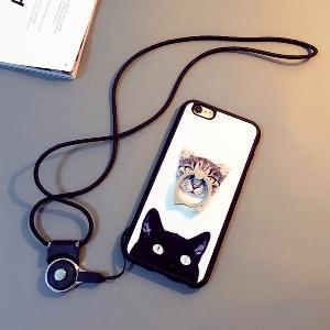 Протектор за телефон с пръстен,каишка и изображение на коте подходящи за  iPhone6, iPhone 6 plus и iPhone5/5S
