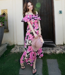 Дамска шифонена рокля на цветя
