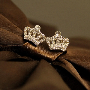 Дамски обеци с камъни - корона