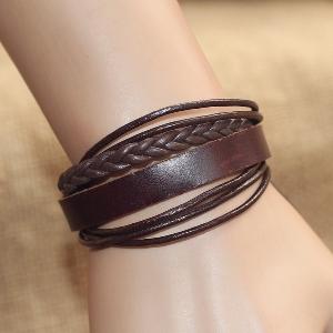 Дамски гривни от изкуствена кожа в черен и кафяв цвят