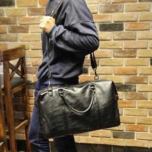 Мъжки черни пътни чанти за ръчен багаж от изкуствена кожа