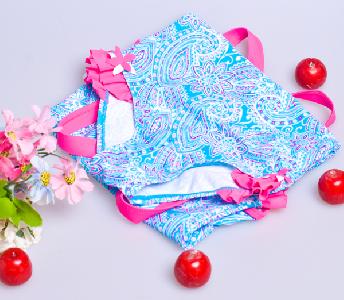 Детски фигурален цял бански синьо с розово