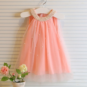 Детска шифонена рокличка в бял и розов цвят с перли.