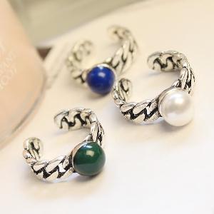Дамски пръстени в зелен,син и бял цвят - 1.7 см