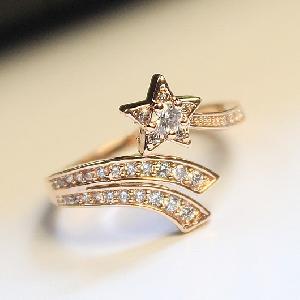 Дамски пръстени в златист и сребрист цвят - звезда