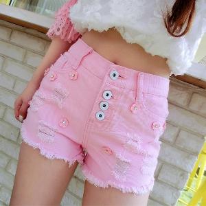 Дамски къси розови панталони с висока талия