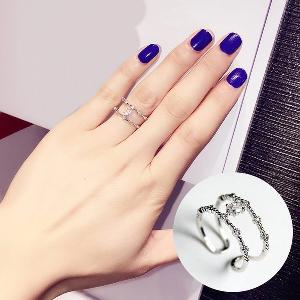 Дамски пръстен в 2 цвята - сребрист и златист 1.7 см