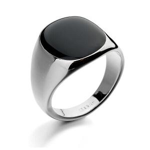 Мъжки пръстен в черен и сребрист цвят - 4 модела и 5 размера