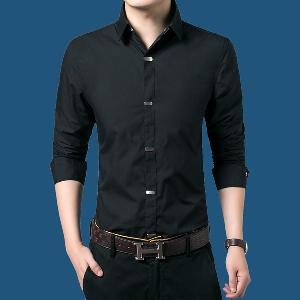 Μονόχρωμα επίσημα ανδρικά πουκάμισα με μακριά μανίκια - διάφορα σχέδια σε  μαύρο 8e7f71beaac