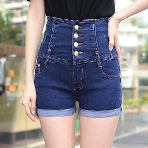 Дамски къси дънкови панталони с висока талия