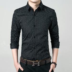 Αντρικά πουκάμισα με μακρύ μανίκι σε σημεία - μαύρα και άσπρα μοντέλα με βαμβακερό  υλικό βάσης 43d95d7f76b