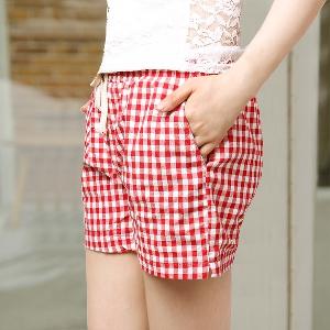 Карирани дамски къси панталони - 3 цвята