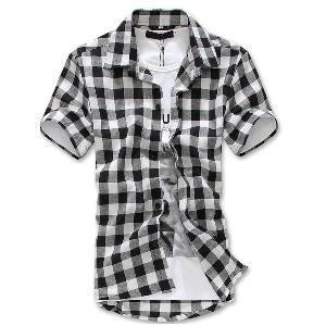 Мъжки карирани ризи - три модела с къс ръкав и основен материал памук - червени, бели и сини модели с черно каре - топ варианти