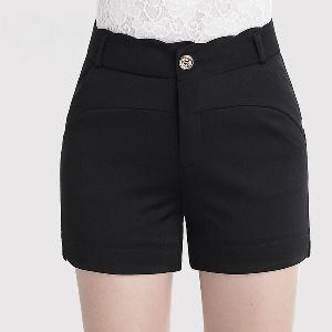 Дамски летни къси панталони в черен цвят