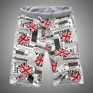 Мъжки къси еластични панталони за плаж и ежедневие - 4 модела с връзки