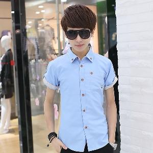 Ανδρικά καλοκαιρινά πουκάμισα - μπλε fb6e8974e36