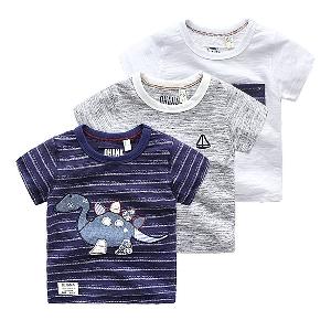 Раирани и едноцветни тениски с анимации с къс ръкав за момчета за ежедневие и плаж през лятото - 3 модела