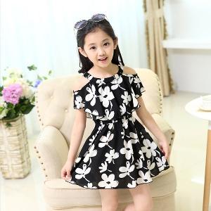 Детски летни черно-бели рокли на цветенца - уникален продукт за момичета - 2 модела