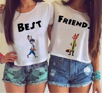 Дамски къси бели тениски за приятелки  Best Friends