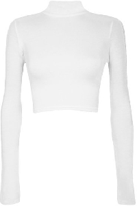 Дамска къса блуза с висока талия и дължина до пъпа, с дълги ръкави - червена, черна , цикламена, бяла